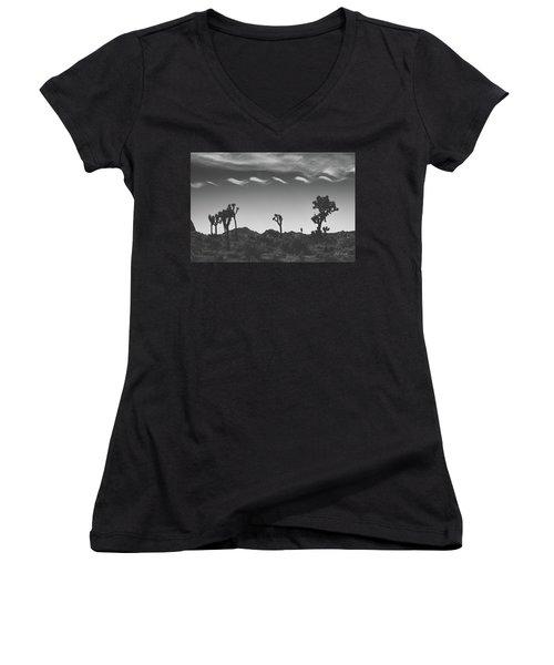 Cotton Sky On Joshua Trees Women's V-Neck T-Shirt (Junior Cut) by Joseph Westrupp