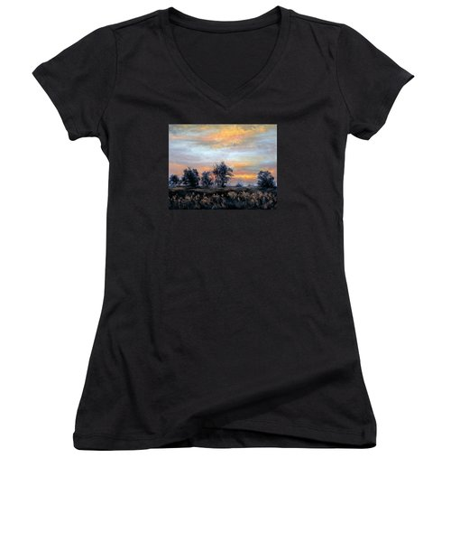 Cottonwoods At Sunset Women's V-Neck T-Shirt (Junior Cut) by Jill Musser