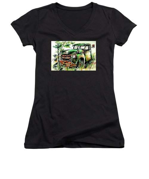 Women's V-Neck T-Shirt (Junior Cut) featuring the painting Country Antiques by Terry Banderas