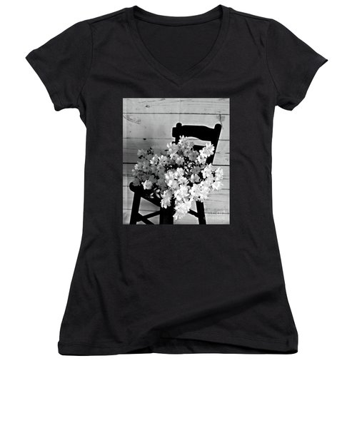 Country Porch In B And W Women's V-Neck T-Shirt (Junior Cut) by Sherry Hallemeier