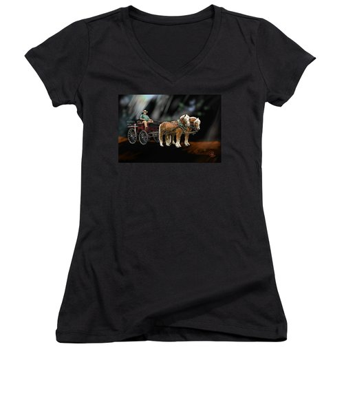 Country Road Horse And Wagon Women's V-Neck T-Shirt (Junior Cut) by Debra Baldwin