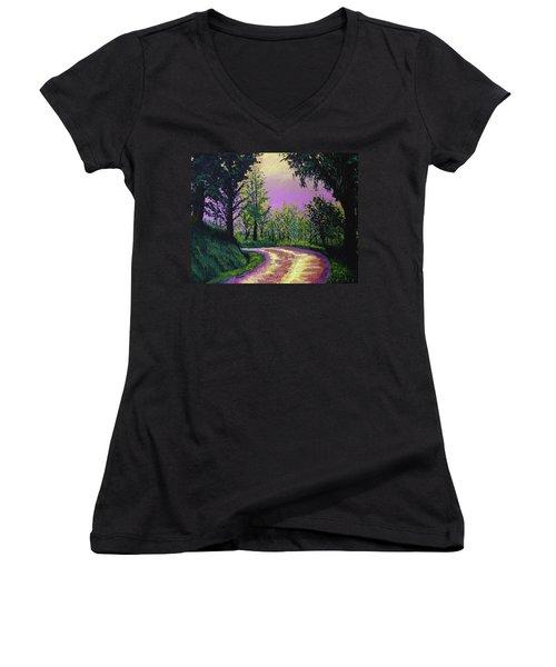Country Road Women's V-Neck T-Shirt (Junior Cut) by Stan Hamilton