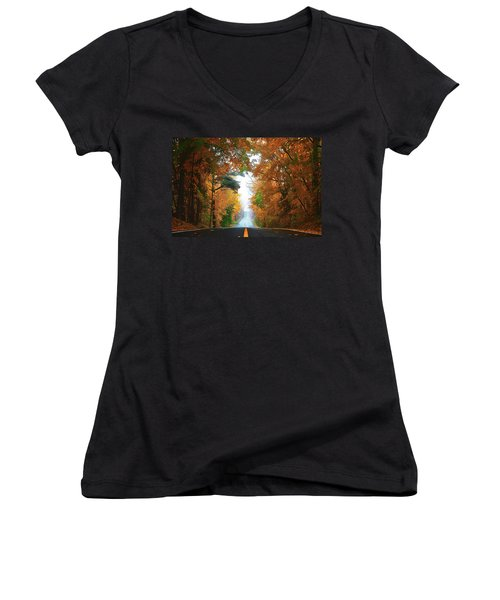 Women's V-Neck featuring the painting Country Roads by Harry Warrick