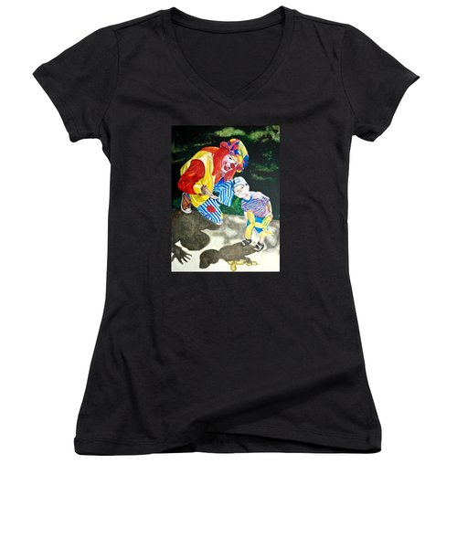 Women's V-Neck T-Shirt (Junior Cut) featuring the painting Couple Of Clowns by Lance Gebhardt