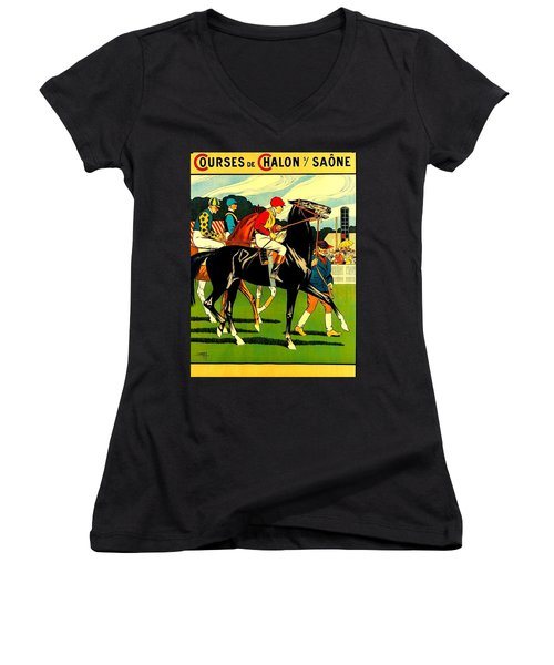 Courses De Chalon French Horse Racing 1911 II Women's V-Neck (Athletic Fit)