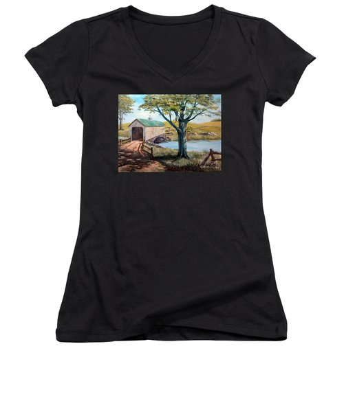 Covered Bridge, Americana, Folk Art Women's V-Neck (Athletic Fit)