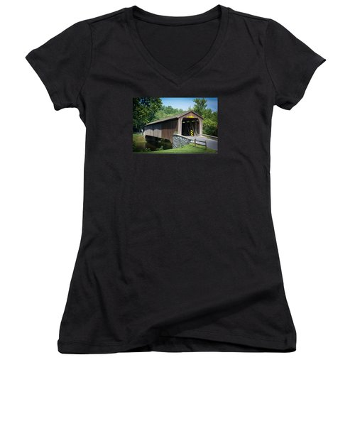 Covered Bridge Women's V-Neck T-Shirt (Junior Cut) by Kenneth Cole