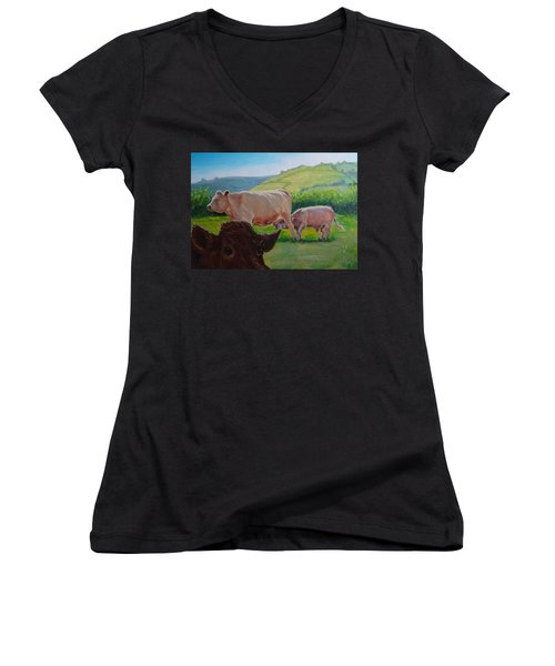 Cow And Calf Painting Women's V-Neck (Athletic Fit)