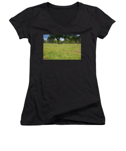 Cow Surrounded By Her Fans Women's V-Neck T-Shirt (Junior Cut)