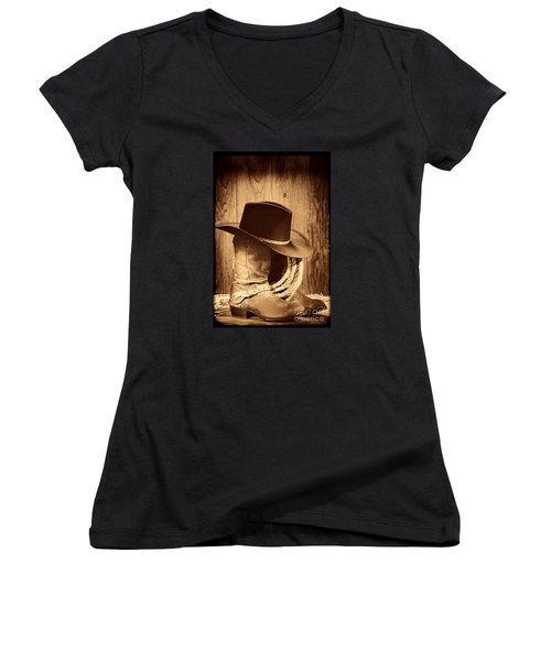 Cowboy Hat On Boots Women's V-Neck T-Shirt (Junior Cut) by American West Legend By Olivier Le Queinec