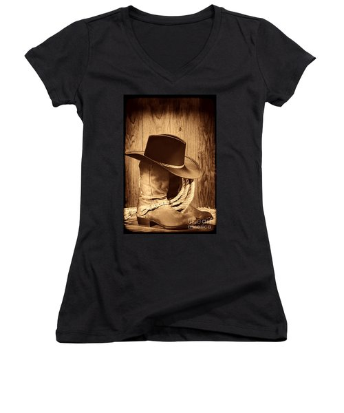 Cowboy Hat On Boots Women's V-Neck