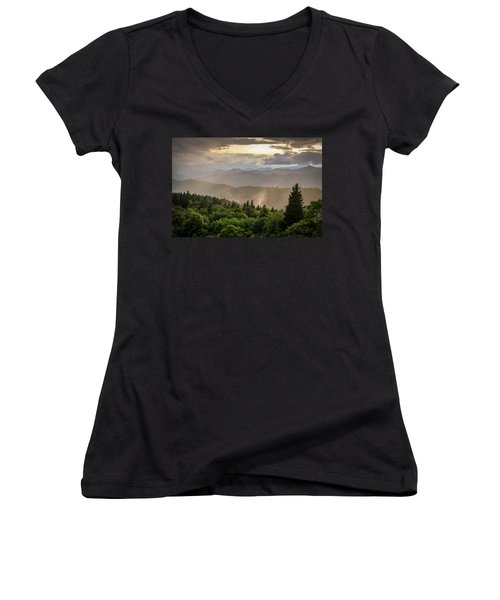 Cowee Mountains Sunset 2 Women's V-Neck (Athletic Fit)