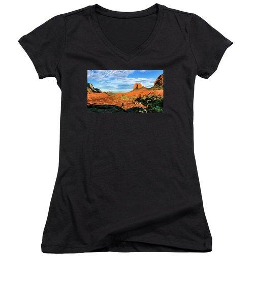 Cowpie 07-094p Women's V-Neck T-Shirt (Junior Cut) by Scott McAllister