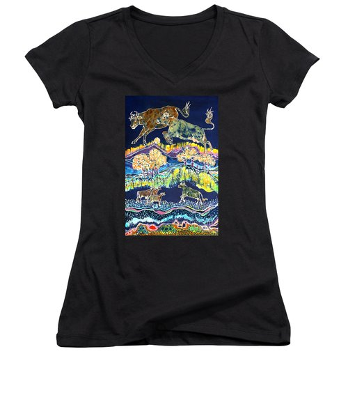 Cows Jumping Over The Moon Women's V-Neck (Athletic Fit)