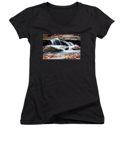 Coxing Kill In Autumn #1 Women's V-Neck T-Shirt (Junior Cut) by Jeff Severson