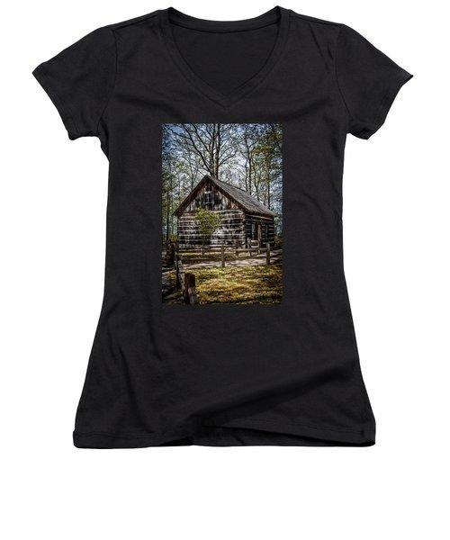 Cozy Cabin Women's V-Neck T-Shirt (Junior Cut) by Joann Copeland-Paul