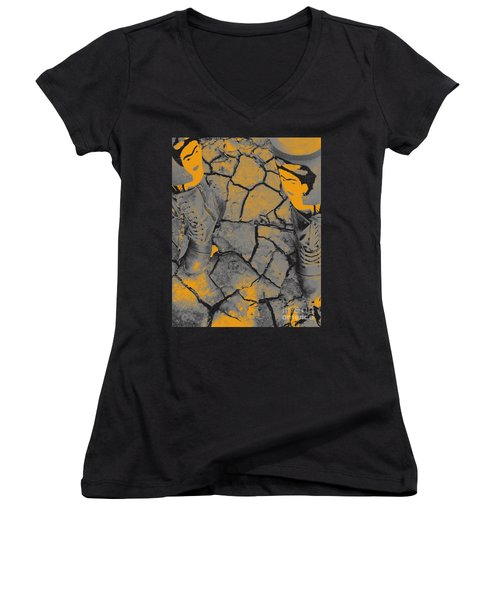 Cracked Earth With Frieda Khalo. Women's V-Neck (Athletic Fit)