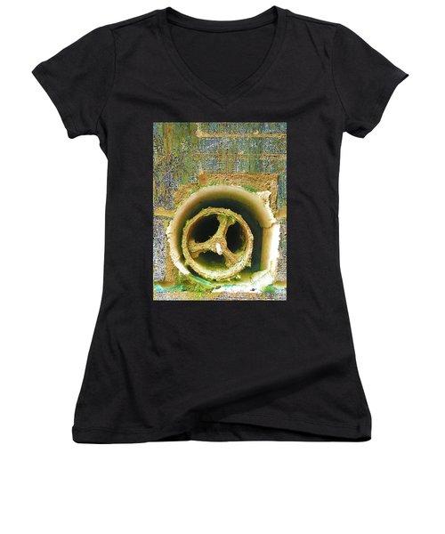 Women's V-Neck T-Shirt (Junior Cut) featuring the mixed media Crank by Tony Rubino