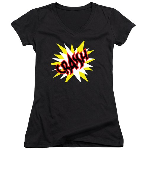 Crash T-shirt And Print By Kaye Menner Women's V-Neck (Athletic Fit)