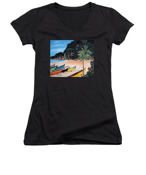 Crashboat Beach I Women's V-Neck T-Shirt (Junior Cut) by Luis F Rodriguez