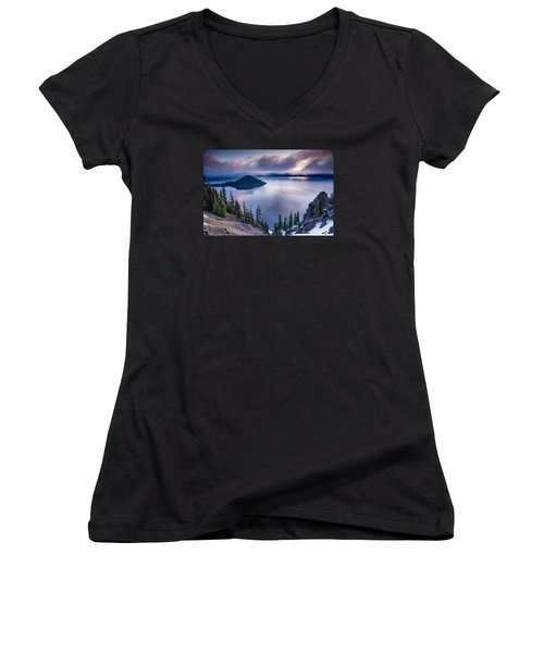 Crater Lake Spring Morning Colors Women's V-Neck T-Shirt (Junior Cut) by Greg Nyquist