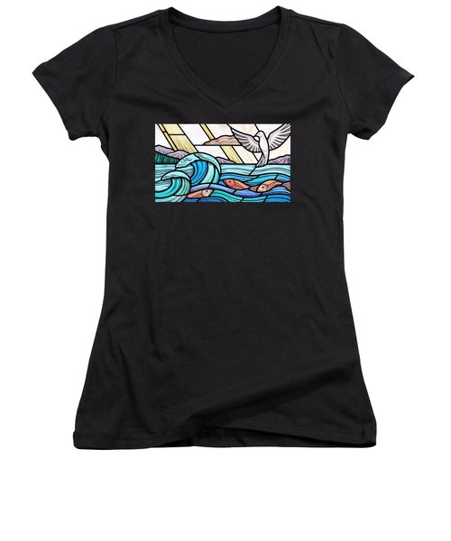 Women's V-Neck T-Shirt (Junior Cut) featuring the glass art Creation Of The Sea And Sky by Gilroy Stained Glass