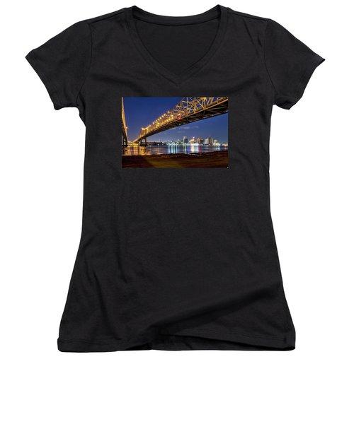 Crescent City Bridge, New Orleans Women's V-Neck