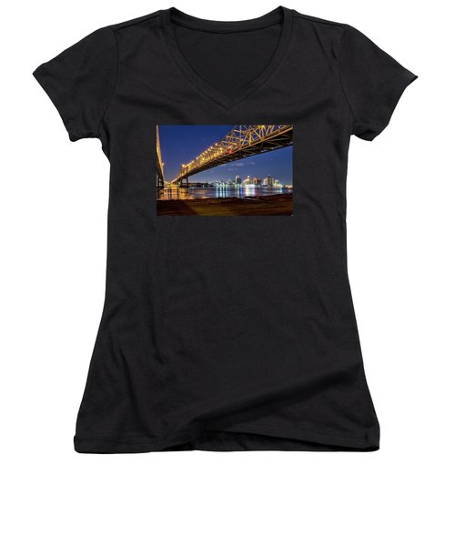 Crescent City Bridge, New Orleans Women's V-Neck (Athletic Fit)