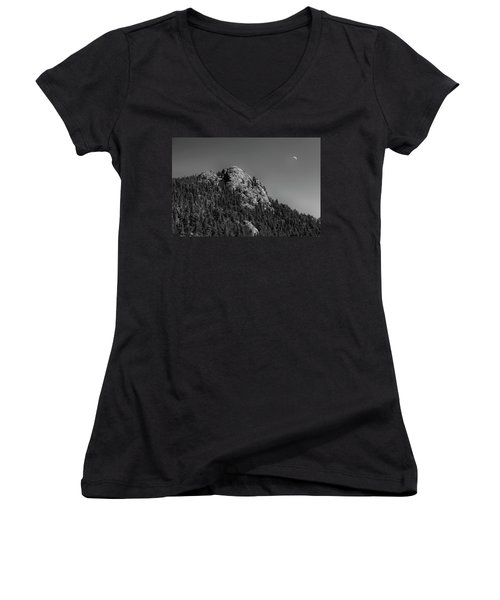 Women's V-Neck T-Shirt (Junior Cut) featuring the photograph Crescent Moon And Buffalo Rock by James BO Insogna