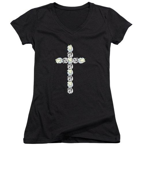 Cross Of Silver And White Roses Women's V-Neck