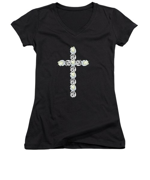 Cross Of Silver And White Roses Women's V-Neck (Athletic Fit)