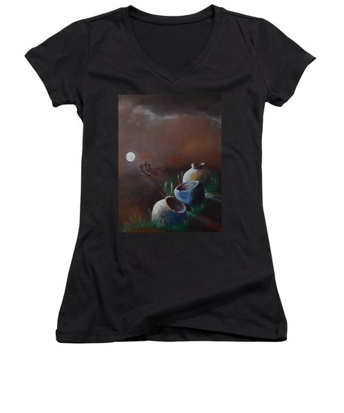 Crosses And Crocks Women's V-Neck T-Shirt (Junior Cut) by Gary Smith