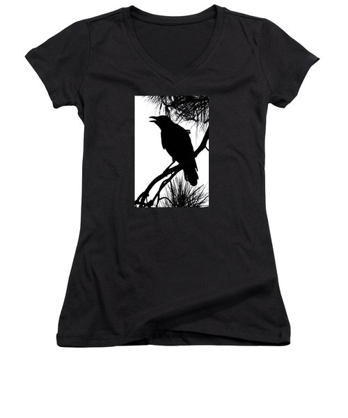 Women's V-Neck T-Shirt (Junior Cut) featuring the photograph Crow Silhouette by Patricia Schaefer