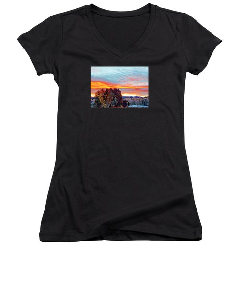 Women's V-Neck T-Shirt (Junior Cut) featuring the photograph Crows Before Dawn El Valle New Mexico by Anastasia Savage Ealy