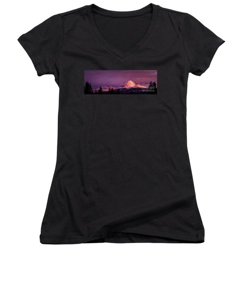 Crowsnest Sunrise Women's V-Neck T-Shirt (Junior Cut) by Brad Allen Fine Art