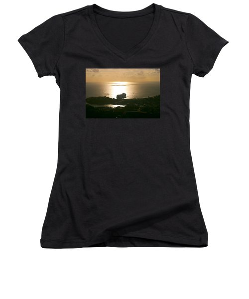 Cruise Ship At Sunset Women's V-Neck (Athletic Fit)