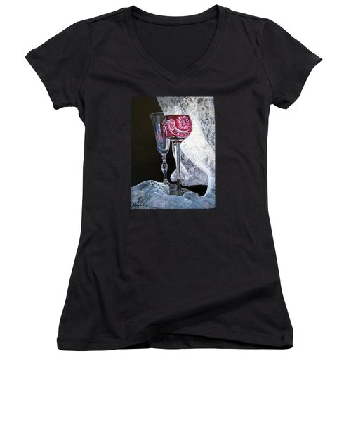 Women's V-Neck T-Shirt (Junior Cut) featuring the painting Crystal And Lace by LaVonne Hand