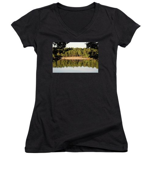 Women's V-Neck T-Shirt (Junior Cut) featuring the photograph Crystal Lake In Whitehall Mi by Ferrel Cordle