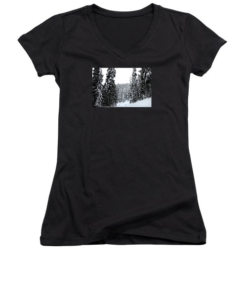 Crystal Mountain Skiing 2 Women's V-Neck T-Shirt (Junior Cut) by Tanya Searcy