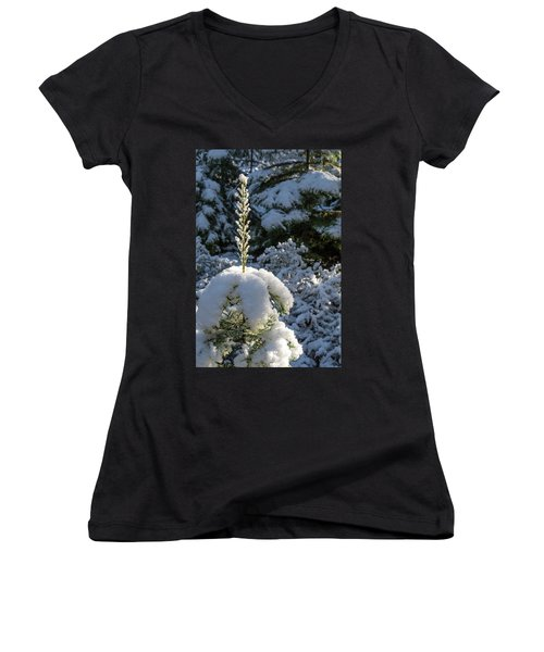 Women's V-Neck T-Shirt (Junior Cut) featuring the photograph Crystal Tree by Jan Davies