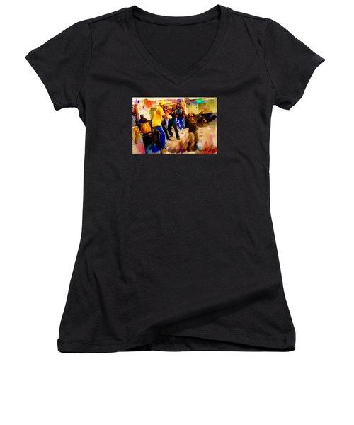 Cuban Music Women's V-Neck T-Shirt (Junior Cut) by Ted Azriel