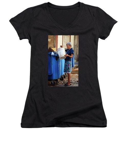 Women's V-Neck T-Shirt (Junior Cut) featuring the photograph Cuban Woman With Cigar by Joan Carroll
