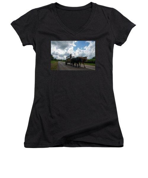 Cuban Worker Women's V-Neck T-Shirt
