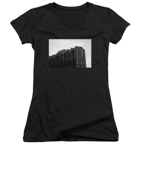 Women's V-Neck T-Shirt (Junior Cut) featuring the photograph Cubicle Farm by Valentino Visentini