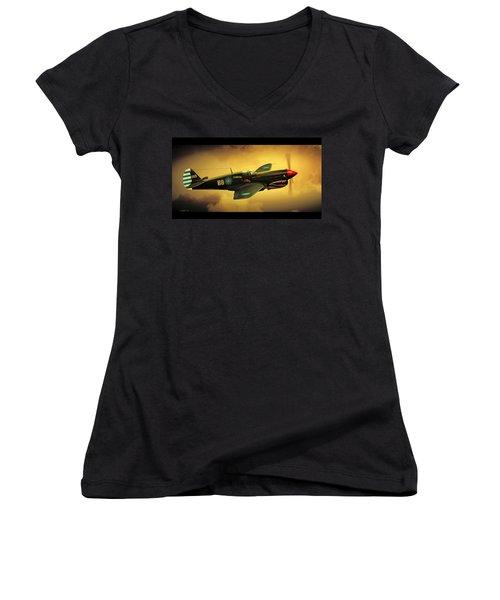 Curtiss P40 C Warhawk Women's V-Neck T-Shirt (Junior Cut) by John Wills