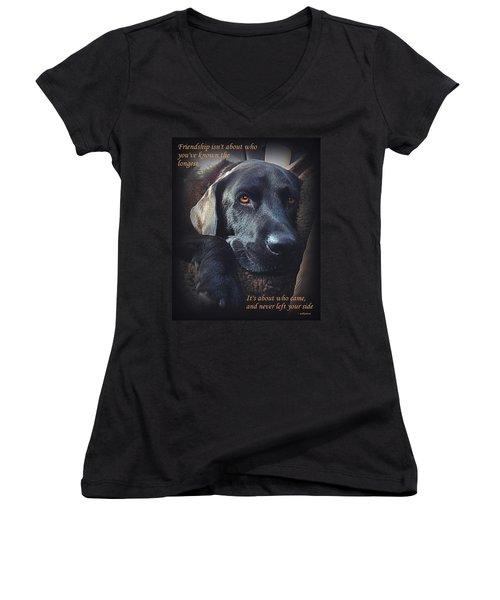Custom Paw Print Midnight Women's V-Neck T-Shirt