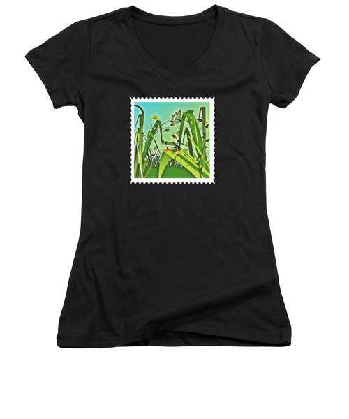 Cute Frog Camouflaged In The Garden Jungle Women's V-Neck T-Shirt (Junior Cut) by Elaine Plesser