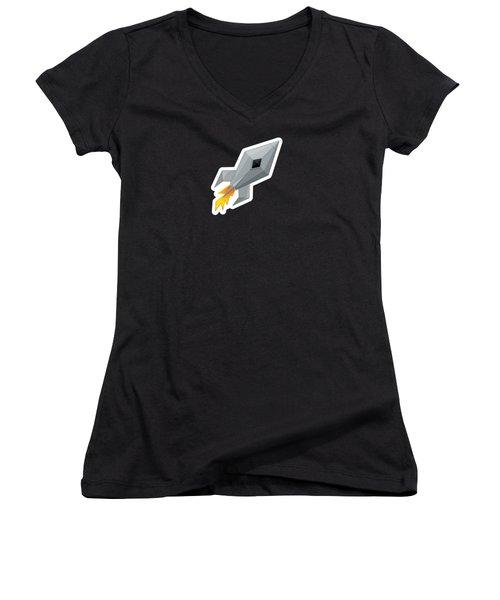Cute Metal Rocket Ship Women's V-Neck T-Shirt