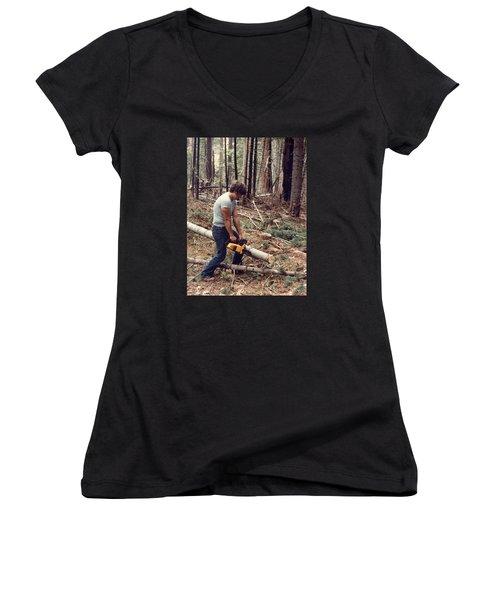 Cutting Wood In Blue Canyon Women's V-Neck T-Shirt (Junior Cut)