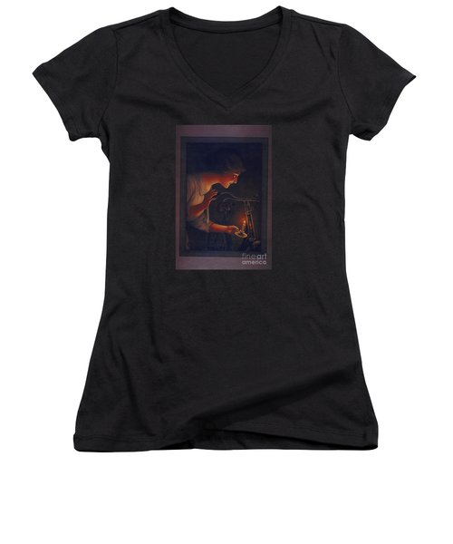 Cycles Fongers Vintage Bicycle Poster Women's V-Neck T-Shirt (Junior Cut) by R Muirhead Art